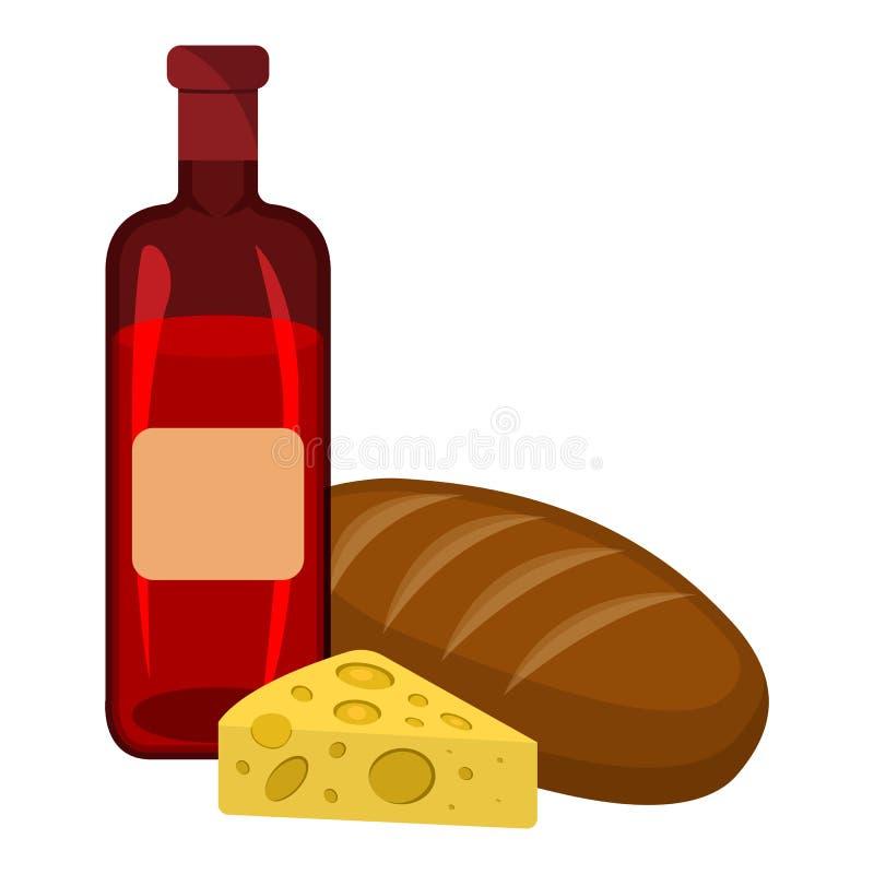Ψωμί, τυρί, εικονίδιο κρασιού Ετικέτα τροφίμων, λογότυπο για τον Ιστό και εμβλήματα η αλλοδαπή γάτα κινούμενων σχεδίων δραπετεύει ελεύθερη απεικόνιση δικαιώματος