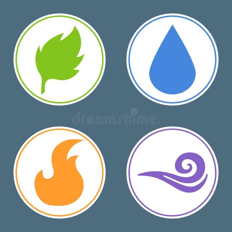 Τέσσερα στοιχεία: Πυρκαγιά, νερό, γη, αέρας Αυτοκόλλητες ετικέττες στοιχείων φύσης φυσικό διανυσματικό ύδωρ απεικόνισης σχεδίου φ απεικόνιση αποθεμάτων