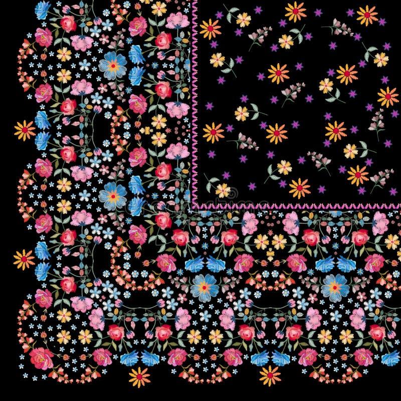 Τέταρτο της όμορφης τυπωμένης ύλης bandana με τα φωτεινά λουλούδια κεντητικής Καλό τραπεζομάντιλο με τα floral μοτίβα Σχέδιο μαντ διανυσματική απεικόνιση