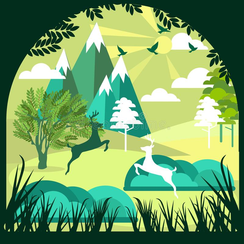 Τέχνη εγγράφου, περικοπή και ύφος τεχνών του πράσινων δάσους και της άγριας φύσης deers με τα στρώματα υποβάθρου φύσης ως διασώσε ελεύθερη απεικόνιση δικαιώματος