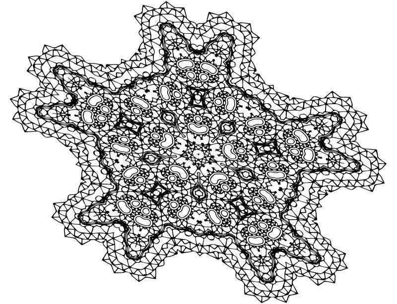 Τέχνη σχεδίων Mandala, διαμορφωμένα λουλούδια διανυσματική απεικόνιση