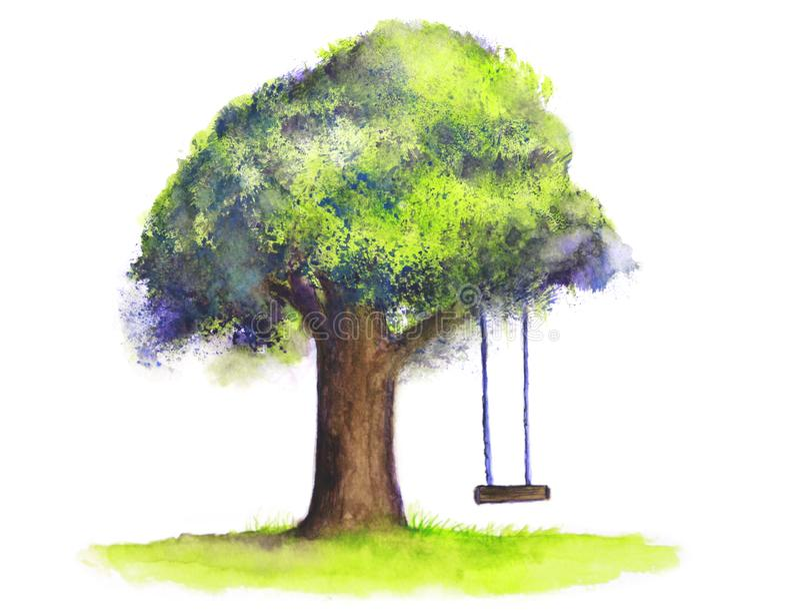 Ταλάντευση δέντρων Watercolor στο άσπρο υπόβαθρο στοκ εικόνες με δικαίωμα ελεύθερης χρήσης