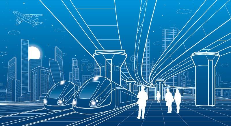Ταξίδι δύο τραίνων με το τραίνο Σύγχρονη πόλη νύχτας σκηνή αστική μεγάλη γέφυρα Άνθρωποι που περπατούν στην πλατφόρμα Μύγα αεροπλ διανυσματική απεικόνιση