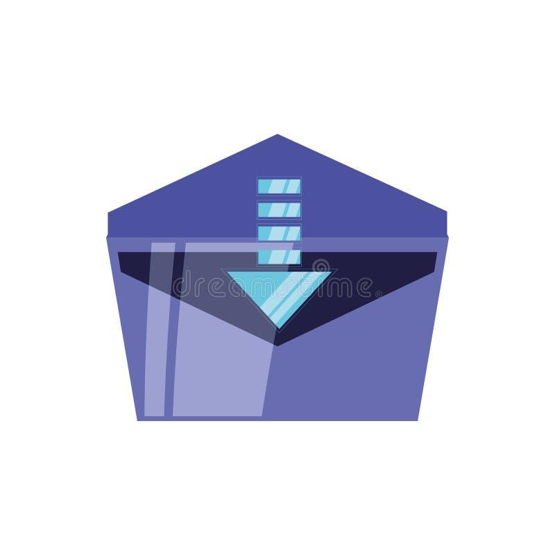 Ταχυδρομείο φακέλων ανοικτό με απομονωμένο το βέλος εικονίδιο απεικόνιση αποθεμάτων