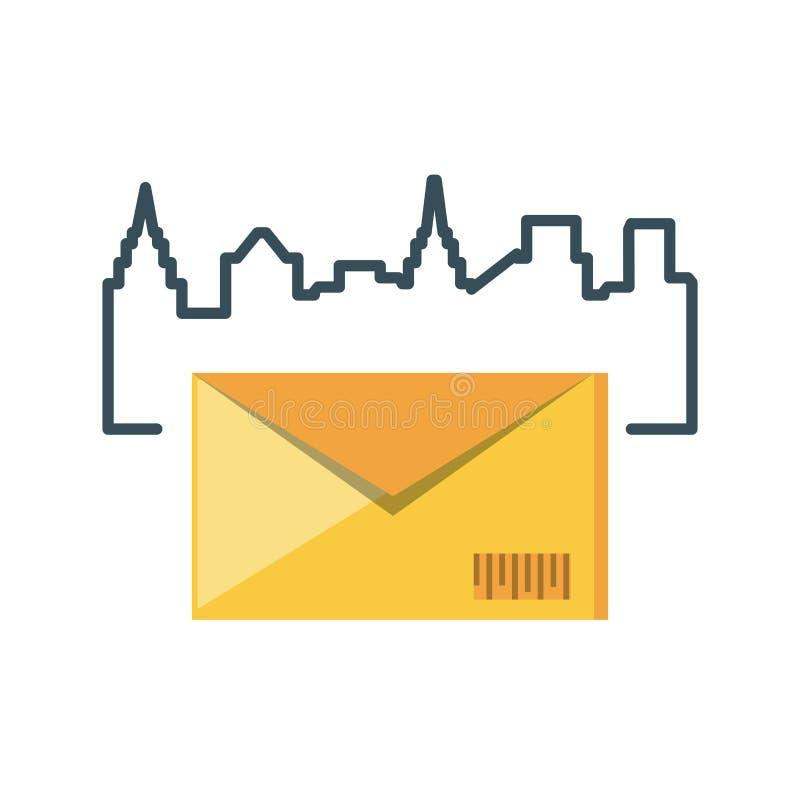 Ταχυδρομείο φακέλων με το εικονίδιο εικονικής παράστασης πόλης διανυσματική απεικόνιση