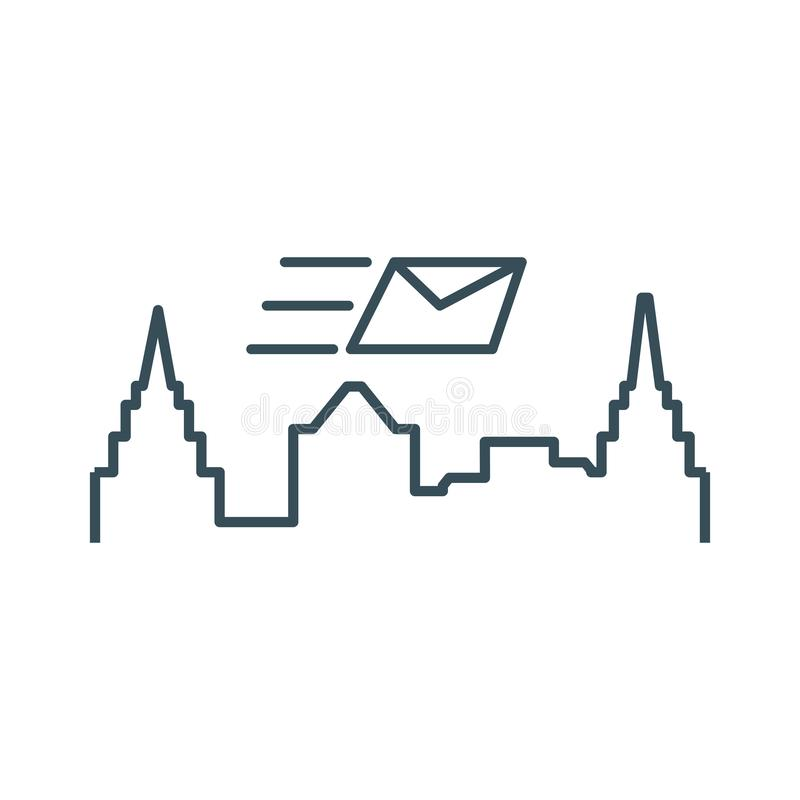 Ταχυδρομείο φακέλων με το εικονίδιο εικονικής παράστασης πόλης απεικόνιση αποθεμάτων