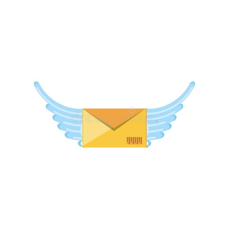 Ταχυδρομείο φακέλων με το εικονίδιο φτερών διανυσματική απεικόνιση