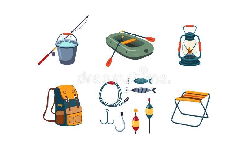 Τα εικονίδια αλιείας και στρατοπέδευσης θέτουν, κάδος και αλιεύοντας ράβδος, λαστιχένια βάρκα, λαμπτήρας κηροζίνης, σακίδιο πλάτη απεικόνιση αποθεμάτων