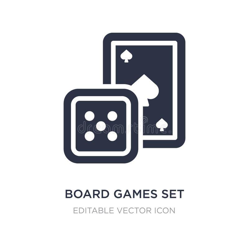 τα επιτραπέζια παιχνίδια καθορισμένα το εικονίδιο στο άσπρο υπόβαθρο Απλή απεικόνιση στοιχείων από την έννοια ψυχαγωγίας απεικόνιση αποθεμάτων