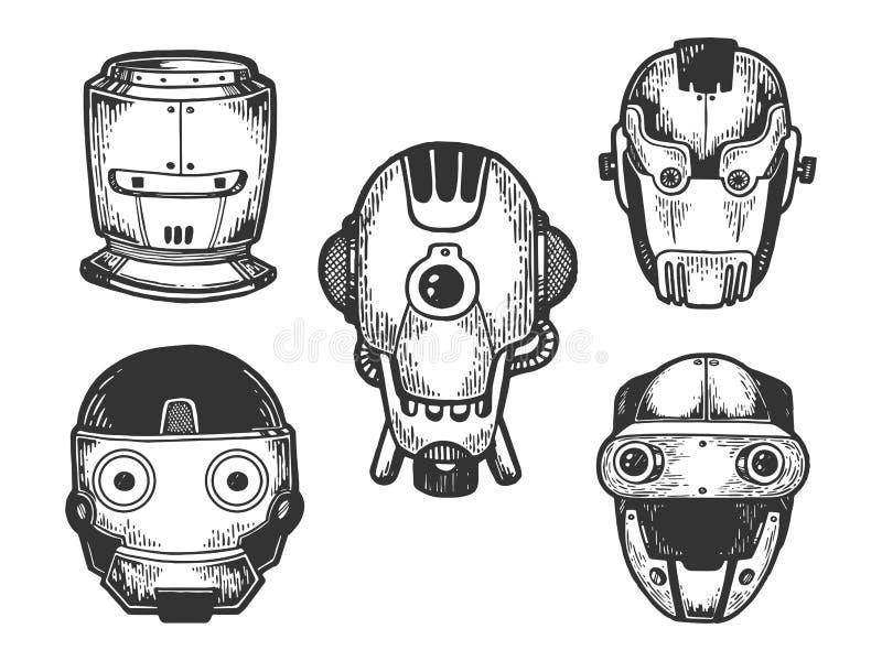 Τα κεφάλια ρομπότ Cyborg καθορισμένα το διάνυσμα χάραξης σκίτσων διανυσματική απεικόνιση