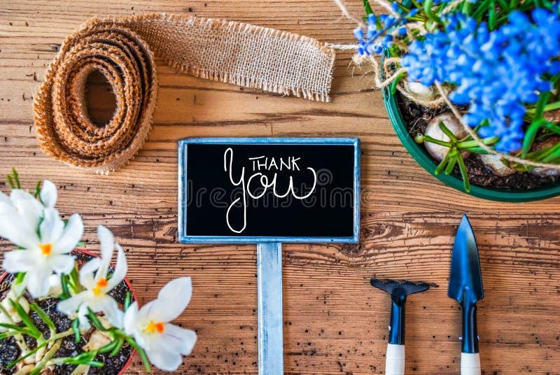 Τα λουλούδια άνοιξη, σημάδι, καλλιγραφία σας ευχαριστούν, ξύλινο υπόβαθρο στοκ φωτογραφία με δικαίωμα ελεύθερης χρήσης