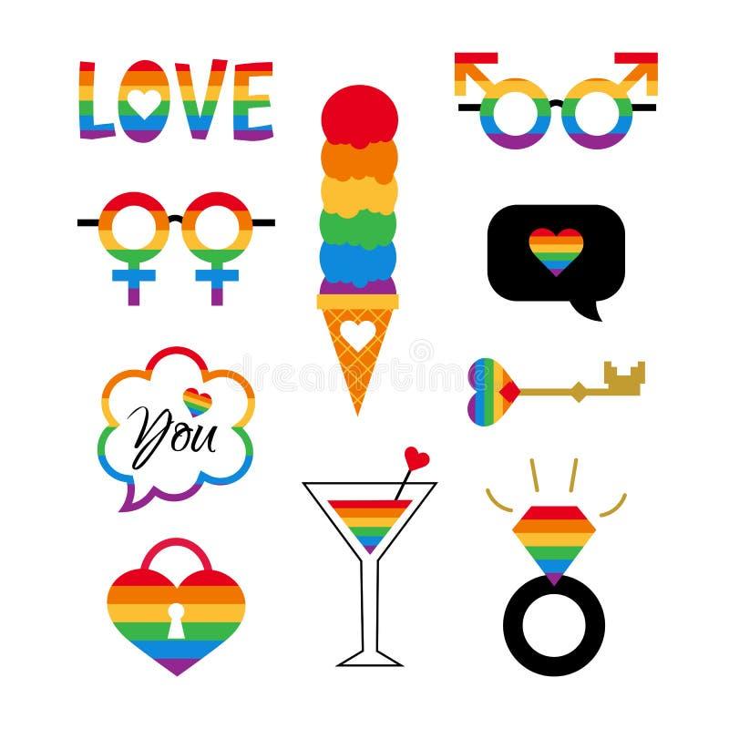 Τα διανυσματικά σύμβολα υπερηφάνειας καθορισμένα το ομοφυλοφιλικό κόμμα LGBT διανυσματική απεικόνιση