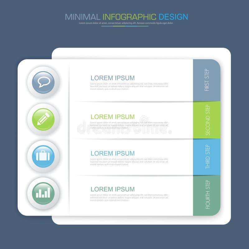 Τα στοιχεία Infographic με το επιχειρησιακό εικονίδιο στο πλήρες υπόβαθρο χρώματος επεξεργάζονται ή ροής της δουλειάς βημάτων και ελεύθερη απεικόνιση δικαιώματος