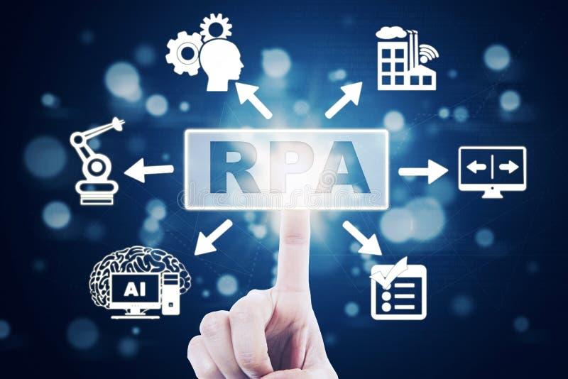 Τα χέρια του ατόμου αγγίζουν την εικονική RPA λέξη στοκ φωτογραφία