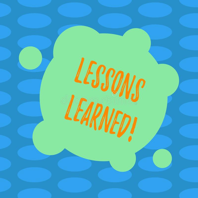 Τα παθήματα κειμένων γραψίματος λέξης που γίνονται μαθήματα Επιχειρησιακή έννοια για την εμπειρία που πρέπει να είναι λήφθείτ υπό απεικόνιση αποθεμάτων