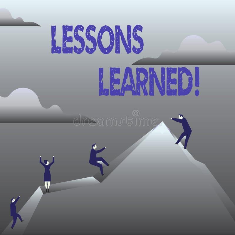 Τα παθήματα κειμένων γραφής που γίνονται μαθήματα Έννοια που σημαίνει την εμπειρία που πρέπει να ληφθεί υπόψη στο μέλλον διανυσματική απεικόνιση