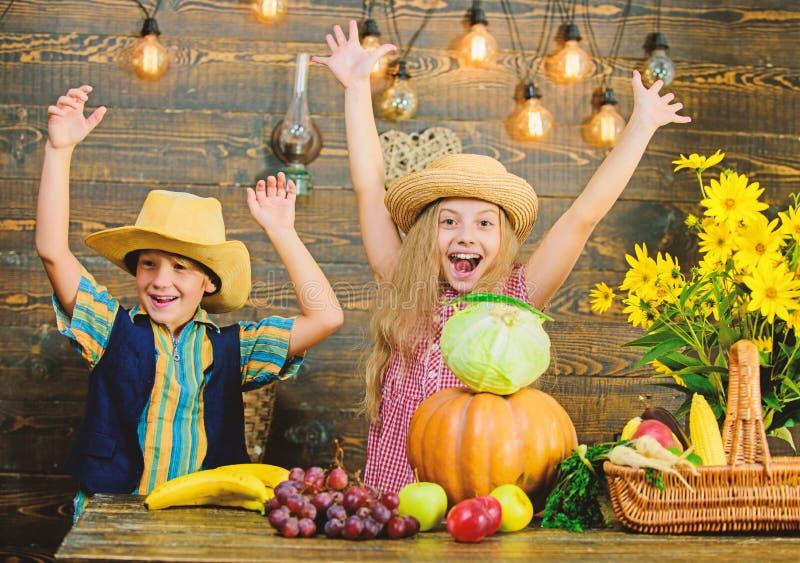 Τα παιδιά παίζουν το ξύλινο υπόβαθρο λαχανικών Το καπέλο ένδυσης αγοριών κοριτσιών παιδιών γιορτάζει το αγροτικό ύφος φεστιβάλ συ στοκ εικόνα με δικαίωμα ελεύθερης χρήσης