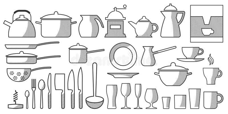 Τα πιάτα κουζινών καθορισμένα το bw ελεύθερη απεικόνιση δικαιώματος