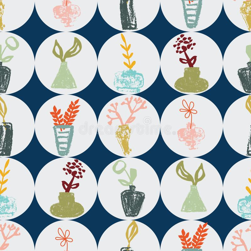 Τα hand-drawn βάζα κρητιδογραφιών με τα λουλούδια στο γκρίζο και μπλε υπόβαθρο άνευ ραφής επαναλαμβάνουν απεικόνιση αποθεμάτων