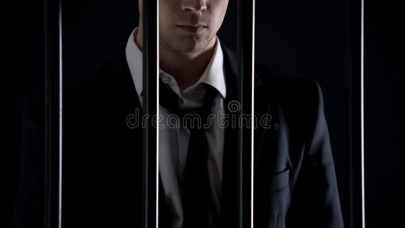 Τεθειμένος υπό κράτηση δισεκατομμυριούχος που περιμένει το δικαστήριο στη φυλακή, φοροδιαφυγή, παράνομη επιχείρηση στοκ εικόνα