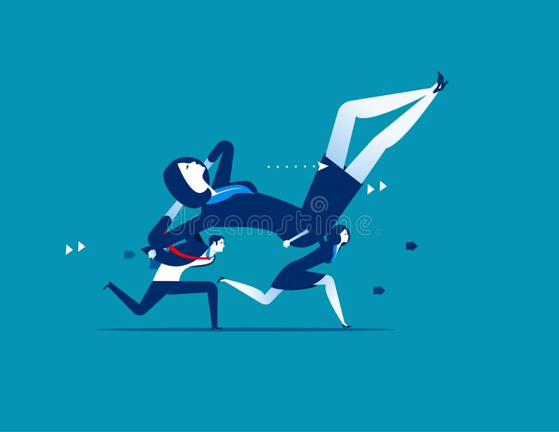 τεμπελιά Οι επιχειρηματίες φέρνουν τον προϊστάμενο Επιχειρησιακή διανυσματική απεικόνιση έννοιας απεικόνιση αποθεμάτων
