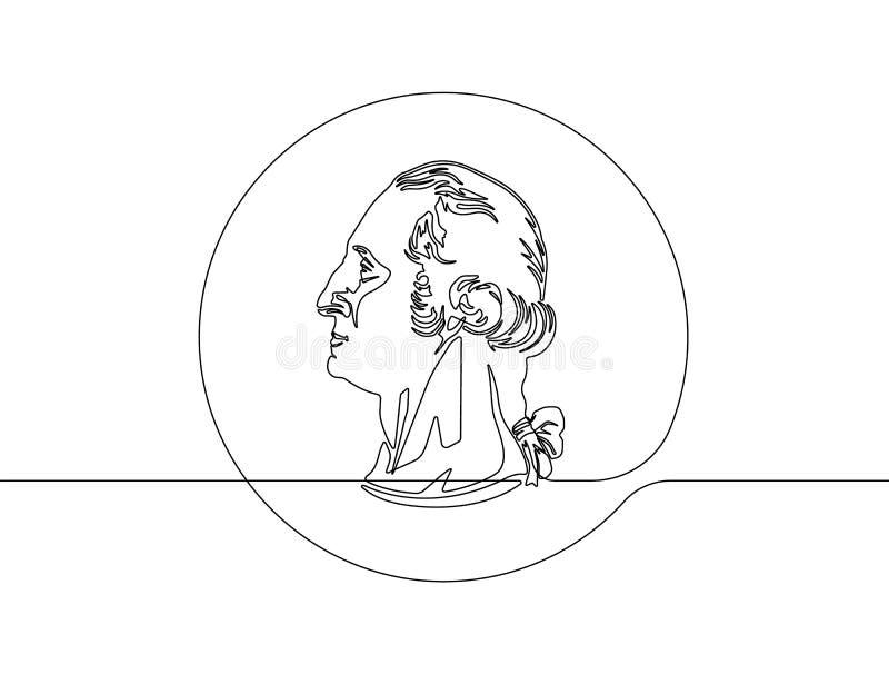 Τετάρτων αμερικανικών διανυσματικός γραφικός γραμμών είκοσι πέντε σεντ νομισμάτων της Ουάσιγκτον συνεχής - διάνυσμα διανυσματική απεικόνιση
