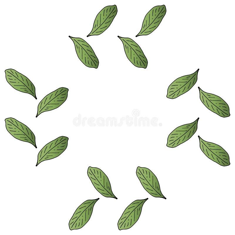 Τετράγωνο με το σκούρο πράσινο σχέδιο φύλλων κλίσης ελεύθερη απεικόνιση δικαιώματος