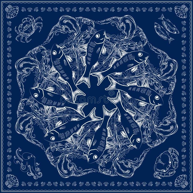 Τετραγωνικό σχέδιο Bandana Το διάνυσμα θαλάσσιος-η απεικόνιση στο μπλε διανυσματική απεικόνιση