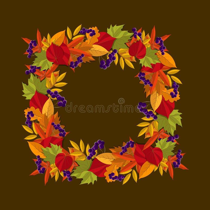 Τετραγωνικό πλαίσιο των φύλλων φθινοπώρου στεφάνι με τα φύλλα φθινοπώρου, επίσης corel σύρετε το διάνυσμα απεικόνισης ελεύθερη απεικόνιση δικαιώματος
