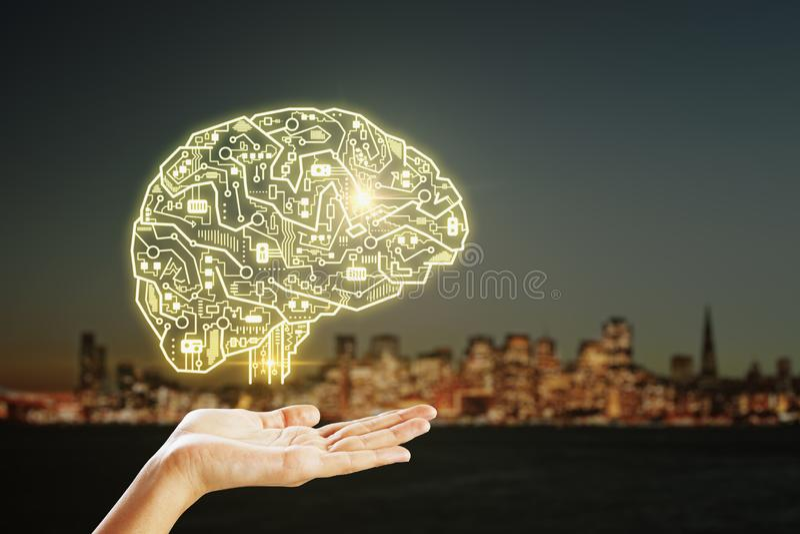 Τεχνητή νοημοσύνη και φουτουριστική έννοια στοκ φωτογραφία