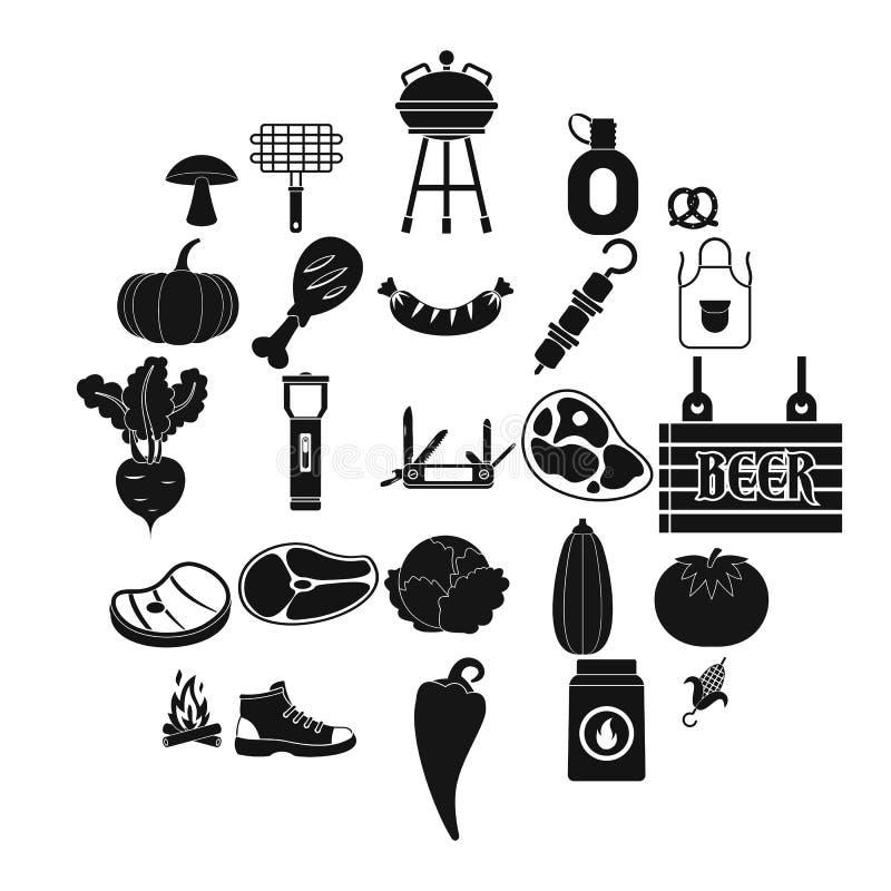 Τηγανισμένα εικονίδια κρέατος καθορισμένα, απλό ύφος ελεύθερη απεικόνιση δικαιώματος
