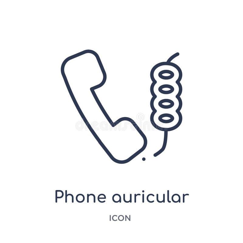 τηλέφωνο ωτικό με το εικονίδιο καλωδίων από τη συλλογή περιλήψεων εργαλείων και εργαλείων Λεπτό τηλέφωνο γραμμών ωτικό με το εικο διανυσματική απεικόνιση