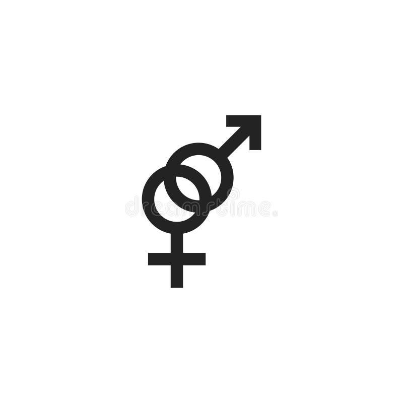 Της Αφροδίτης και του Άρη συμβόλων εικονίδιο, σύμβολο ή λογότυπο Glyph διανυσματικό απεικόνιση αποθεμάτων