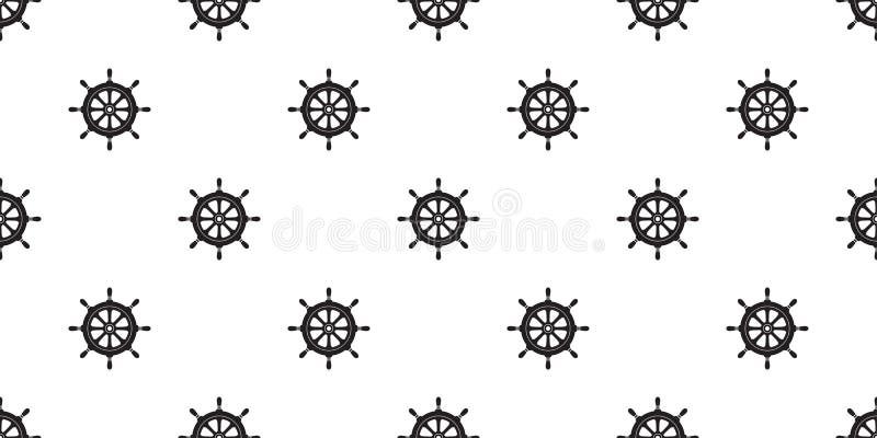 Τιμονιών ο άνευ ραφής σχεδίων αγκύρων διανυσματικός πειρατών σκαφών ωκεανός θάλασσας βαρκών θαλάσσιος ναυτικός απομόνωσε την ταπε ελεύθερη απεικόνιση δικαιώματος