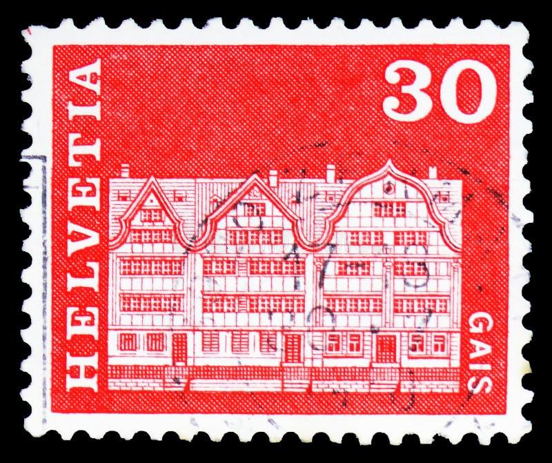 Του χωριού τετραγωνικά σπίτια, Gais, ταχυδρομικά κίνητρα ιστορίας και μνημεία serie, circa 1968 στοκ φωτογραφίες με δικαίωμα ελεύθερης χρήσης