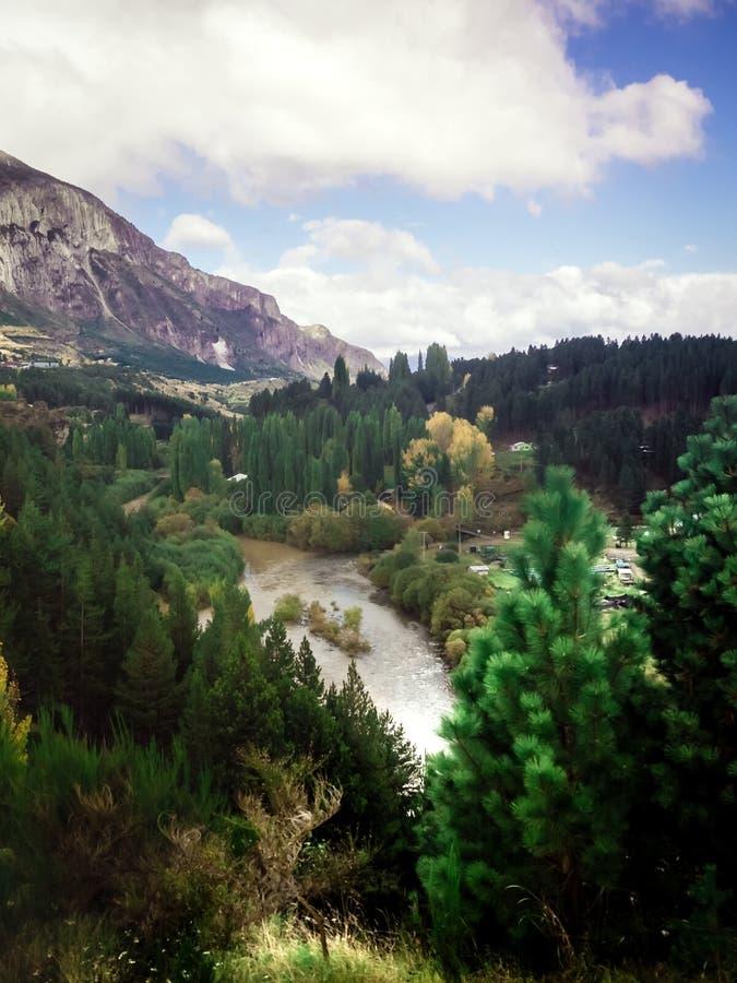 Τοπίο κοντά σε Coyhaique, περιοχή Aisen, νότιος δρόμος Carretera νότιο, Παταγωνία, Χιλή στοκ φωτογραφία με δικαίωμα ελεύθερης χρήσης