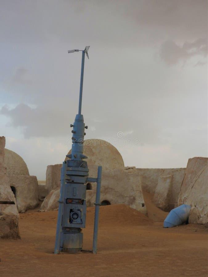 Τοπίο πολέμων των άστρων στην έρημο Σαχάρας, MOS Espa, Tatooine στοκ φωτογραφία