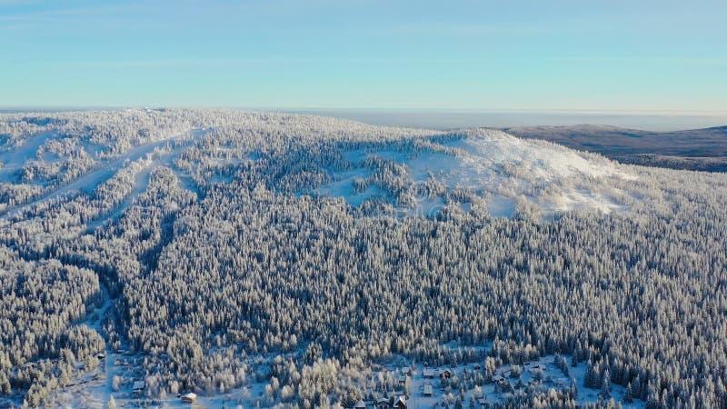 Τοπ άποψη της κορυφής υψώματος που καλύπτεται με το χιόνι footage Χειμερινό τοπίο της περιοχής βουνών το πυκνό κωνοφόρο δάσος που στοκ εικόνα με δικαίωμα ελεύθερης χρήσης