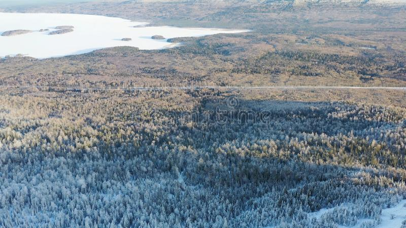 Τοπ άποψη των ορεινών περιοχών με το κωνοφόρο δάσος το χειμώνα footage Όμορφο πανόραμα χιονισμένου πυκνού κωνοφόρου στοκ φωτογραφία με δικαίωμα ελεύθερης χρήσης