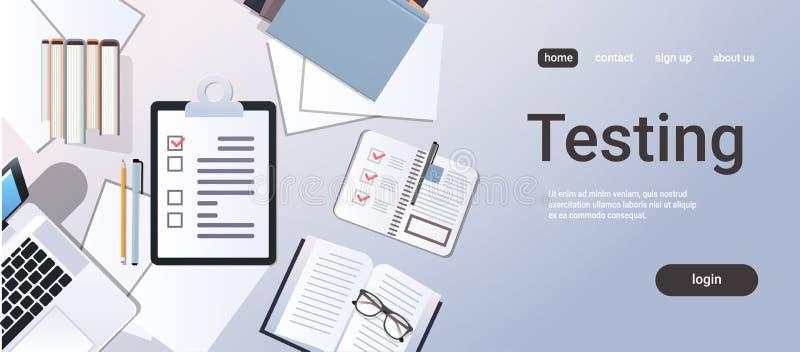 Τοπ ερωτηματολόγιο εγγράφου lap-top υπολογιστών γραφείου άποψης γωνίας έννοιας δοκιμής ερευνών πελατών πινάκων ελέγχου στόχου επι διανυσματική απεικόνιση