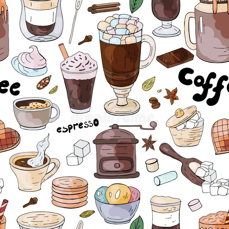 Το άνευ ραφής σχέδιο με το διαφορετικό μυρμήγκι ποτών καφέ ιδρώνει στο άσπρο υπόβαθρο διανυσματική απεικόνιση