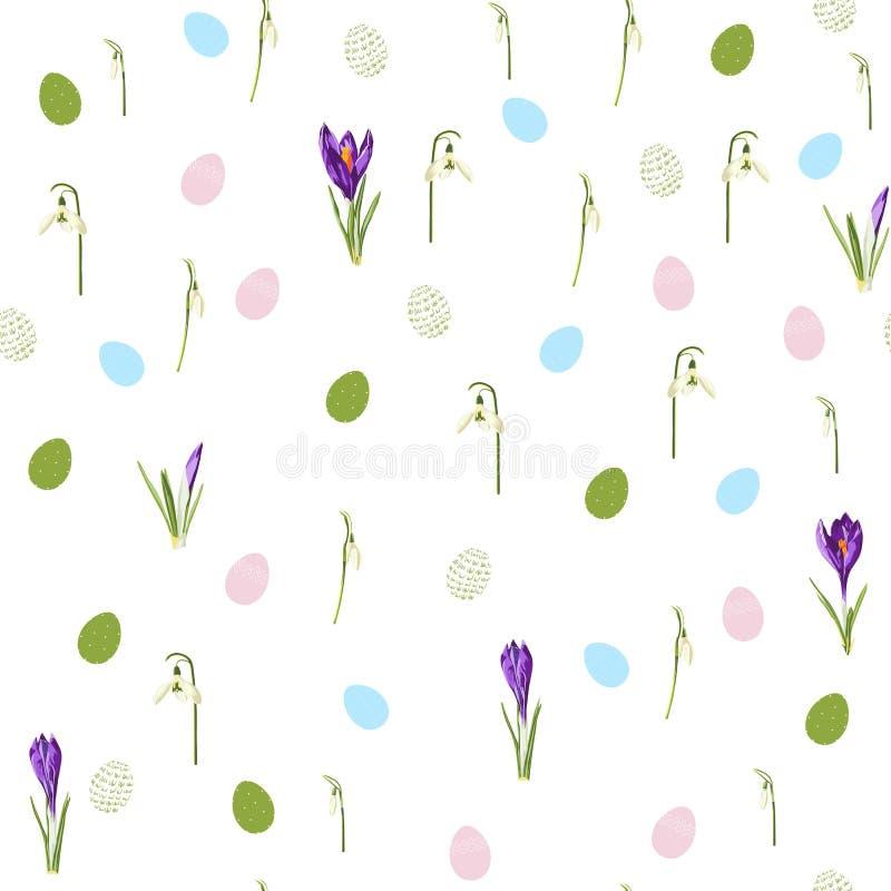 Το άνευ ραφής σχέδιο Πάσχας για το τυλίγοντας έγγραφο, η απεικόνιση με τα χρωματισμένα αυγά και ο κρόκος άνοιξη, snowdrop ανθίζου ελεύθερη απεικόνιση δικαιώματος