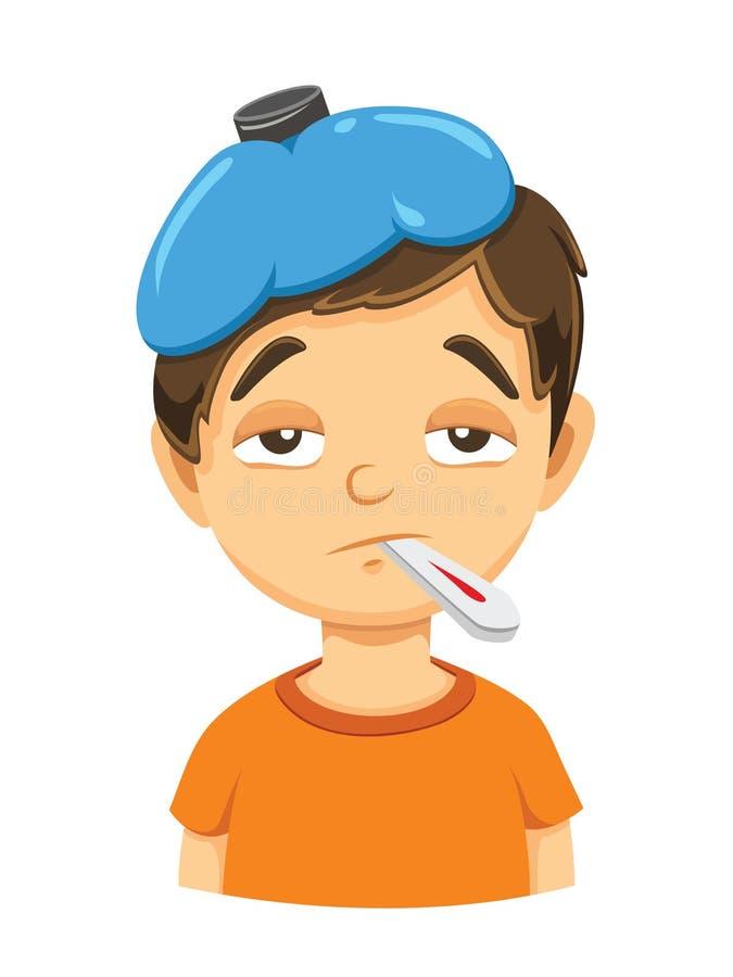 Το άρρωστο αγόρι με τη συμπίεση και Temp κλείνουν επάνω διανυσματική απεικόνιση
