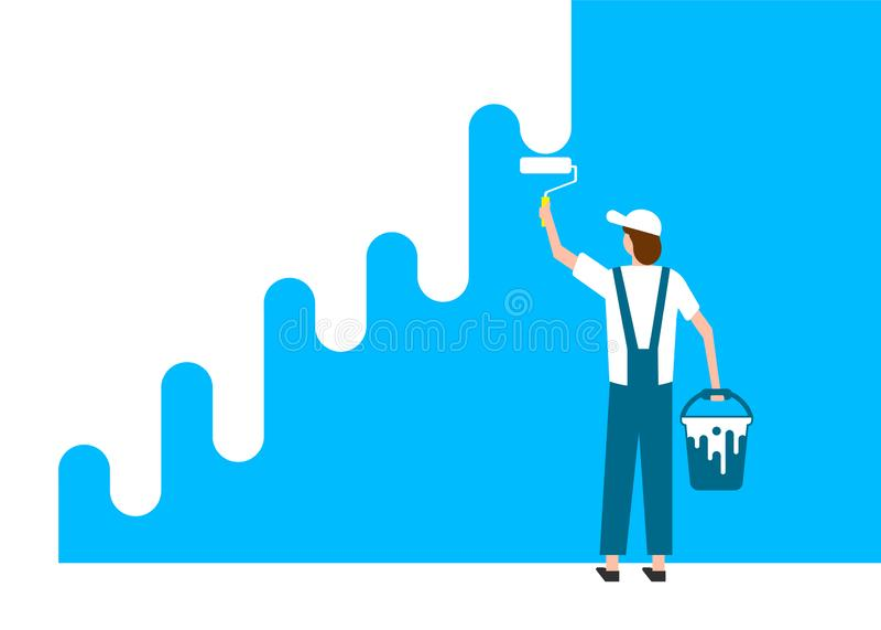 Το άτομο εργαζομένων χρωματίζει τον τοίχο επίσης corel σύρετε το διάνυσμα απεικόνισης EPS απεικόνιση αποθεμάτων