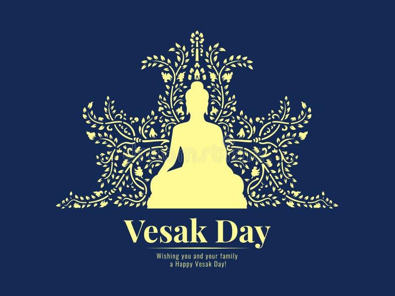 Το έμβλημα ημέρας Vesak με τον κίτρινο Βούδα κάθεται και αφαιρεί το σχέδιο αμπέλων στο σκούρο μπλε διανυσματικό σχέδιο υποβάθρου ελεύθερη απεικόνιση δικαιώματος