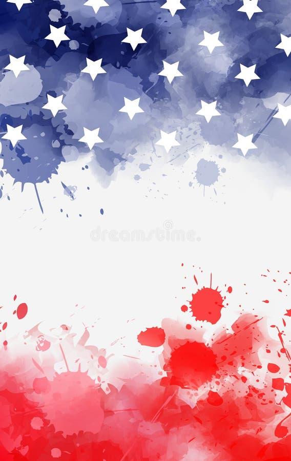 Το έμβλημα Watercolor στις ΗΠΑ σημαιοστολίζει τα χρώματα με τα αστέρια απεικόνιση αποθεμάτων