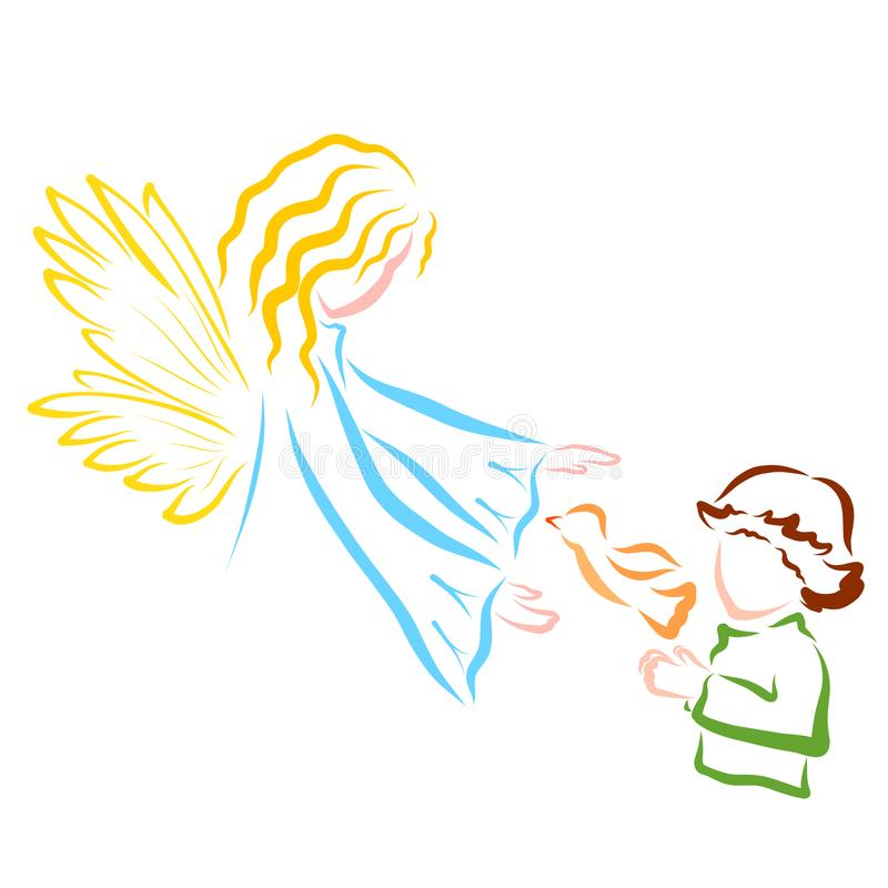 Το αγόρι αφήνει το πουλί και ο άγγελος ή η νεράιδα την προστατεύει ελεύθερη απεικόνιση δικαιώματος