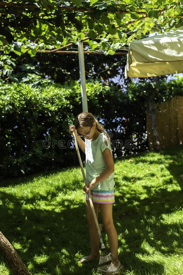 Το αγόρι και το κορίτσι εφήβων που μαζεύουν με τη τσουγκράνα τα ξηρά φύλλα φθινοπώρου και ρίχνουν παλαιό wheelbarrow μετάλλων στο στοκ φωτογραφία με δικαίωμα ελεύθερης χρήσης