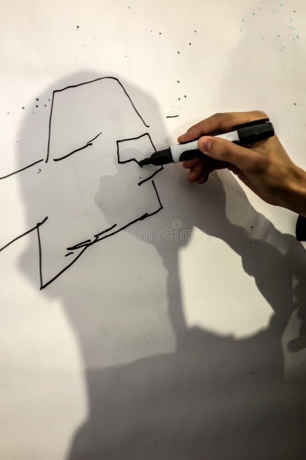 Το αρσενικό χέρι με έναν δείκτη σύρει τις γραμμές στοκ φωτογραφία με δικαίωμα ελεύθερης χρήσης