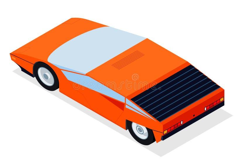 Το αυτοκίνητο με τη isometric προοπτική για τη νέα αναδρομική sportcar δεκαετία του '80 κυμάτων και arcade ορίζει τις αφίσες ελεύθερη απεικόνιση δικαιώματος